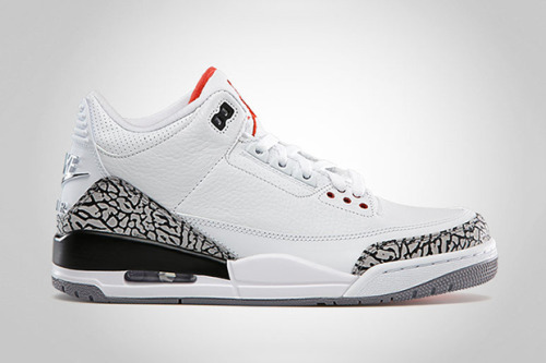 Air Jordan 3 Retro '88 White/Cement Grey To celebrate the 25th anniversary, the Jordan Brand are re-relasing the White/Cement Grey colourway of the Air Jordan 3s. Now the Retro '88, these special edition keep to the OG and are made up of white leather uppers and grey, black and red accents and the signature elephant print to add more detail.  Available today from select retailers.