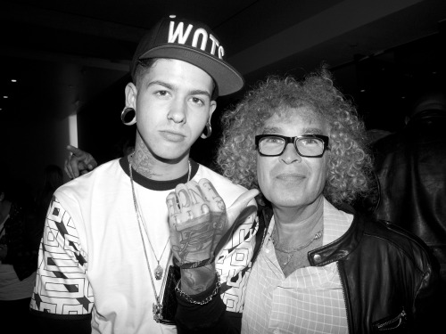 Last night hanging out with T Mills at the Purple party in Hollywood at MILK Studio. Photo: Brad Elterman Archives