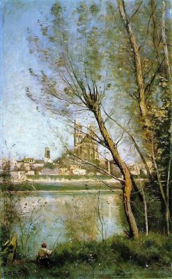 lyghtmylife:  Corot, Jean-Baptiste Camille [French Realist Painter, 1796-1875]The Cathedral of Mantes1865-69Oil on canvas20 1/8 x 12 5/8 in.Musee Saint Denis, Rheims