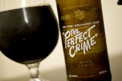 Stone Brewing Collaboration Series | The Perfect Crime This is the result of a collab between Stone Brewing, Evil Twin and Stillwater Artisan. A smoked black saison. Although I have nothing against smoked or black beers, this one was just off the mark for me. It was interesting and continues to push the envelope on craft beer but just wasn't 'there'.