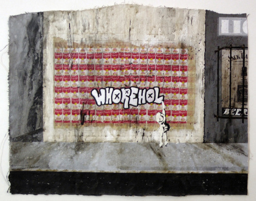 "darksilenceinsuburbia:  Alex Ruby ""WHOREHOL"" 2012 Acrylic on unstretched canvas • 24"" x 18"" freecandyforall.tumblr.com • www.havesomefreecandy.com"