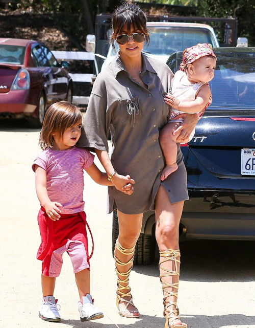 luvkardashjennx:  Kourtney, Mason & Penelope out in LA on Saturday.