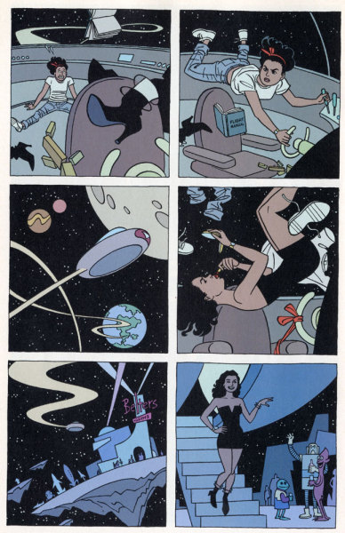 cress-cross:  comicblah:  Tesla Time pt. 2 by Alan Moore, Jaime Hernandez, Matt Hollingsworth, Ted Klein, Pozner, Quinn, Scott Dunbier  the perfect future.