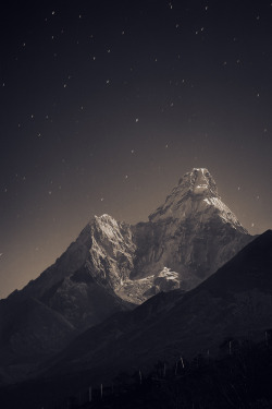 "radioactivesamosa:  ""Ama Dablam (6,856 m) in the fullmoon light"" by Anton Jankovoy"