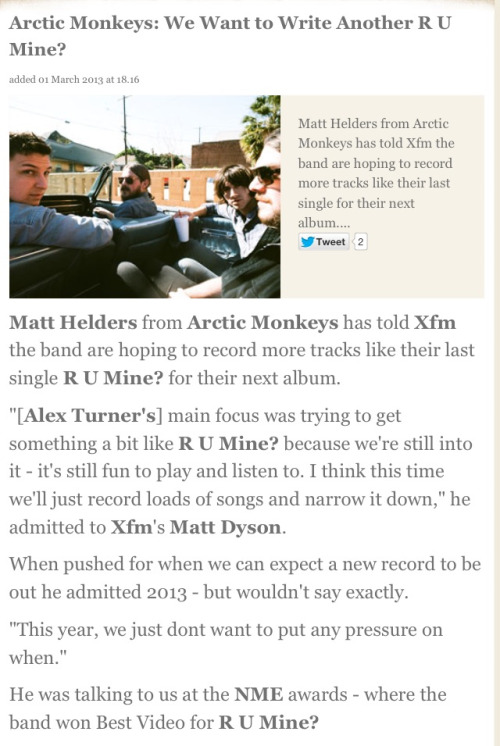 arcticmonkeysus:  Matt Helders confirms 2013 release for AM5