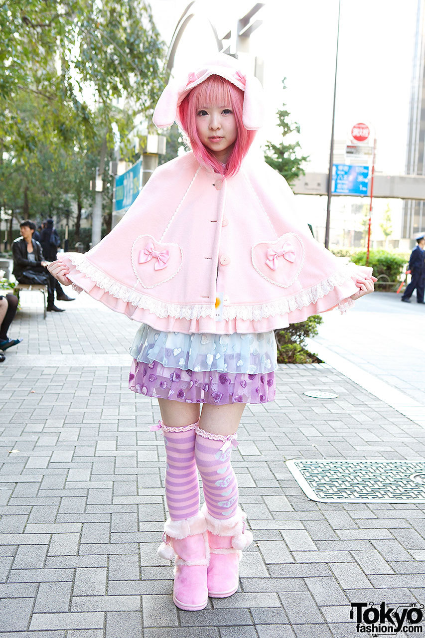 Always-kawaii Moco from Strawberry Planet w/ Angelic Pretty bunny ears cape on the street in Tokyo.