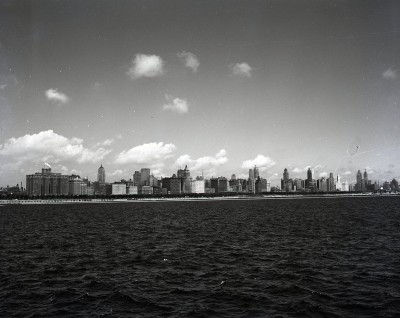 Skyline from the lake, 1943, Chicago