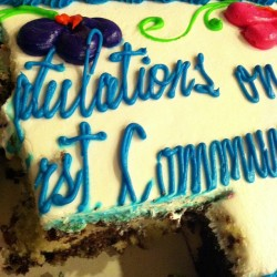Leftover First Communion cake makes for a great midnight snack! #mmmgood  #marblebuttercream #iwashungry