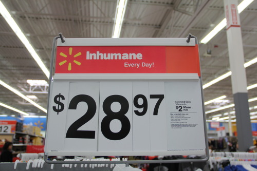 rebrandwalmart:   The majority of Walmart warehouse workers are hired through temp agencies, paid low wages, receive no benefits, and have no job security. They routinely lift heavy boxes – up to 200-pounds – from shipping containers on a piece rate system or for minimum wage for hours and days on end – in some cases 362 days a year. Workers encounter inhumane work speeds, moving  up to 450 boxes per hour by hand,  pollutants, high temperatures, little ventilation and intense retaliation if they complain about the conditions. Serious injuries on the job are common. For more info, check out Warehouse Workers United and Warehouse Workers for Justice. You, too, can tell the truth about Walmart in their own stores! [Photo by Katie Moore.]