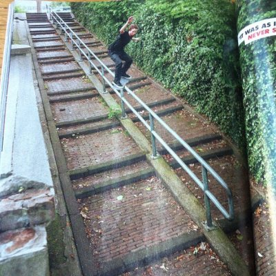 steakboarder:  zacksucks:  el-rock-zam:  Holy shit! Kyle Walker feeble grinding a monster in Holland ! Good stuff in the new @thrashermag  Holy shit  that ground is dutch, that's for sure