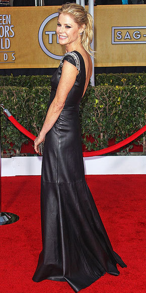 Better From The Back? Julie Bowen Julie's leather Johanna Johnson had a deep plunge on its front and back. Which view do you prefer?