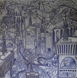 johnledgerart:Central Bombardment (2009, biro on paper, 110X100cm)