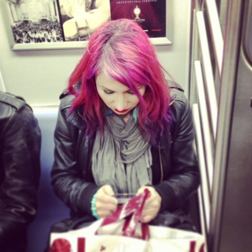 Kick-ass electric pink hair with ombre purple tips. Rocking.