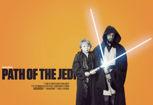 Path of the Jedi - Vintage style poster I was inspired today so I created another Path of the Jedi Poster. I used vintage movie posters as my inspiration and this rough draft resulted. I think I may actually print this one to hang at home. Edit: After looking at it again for the 20th time since I created it, I finally realized that I only included ONE name above the title instead of two (since there are two of us)… I'll fix it tomorrow when I get to work.