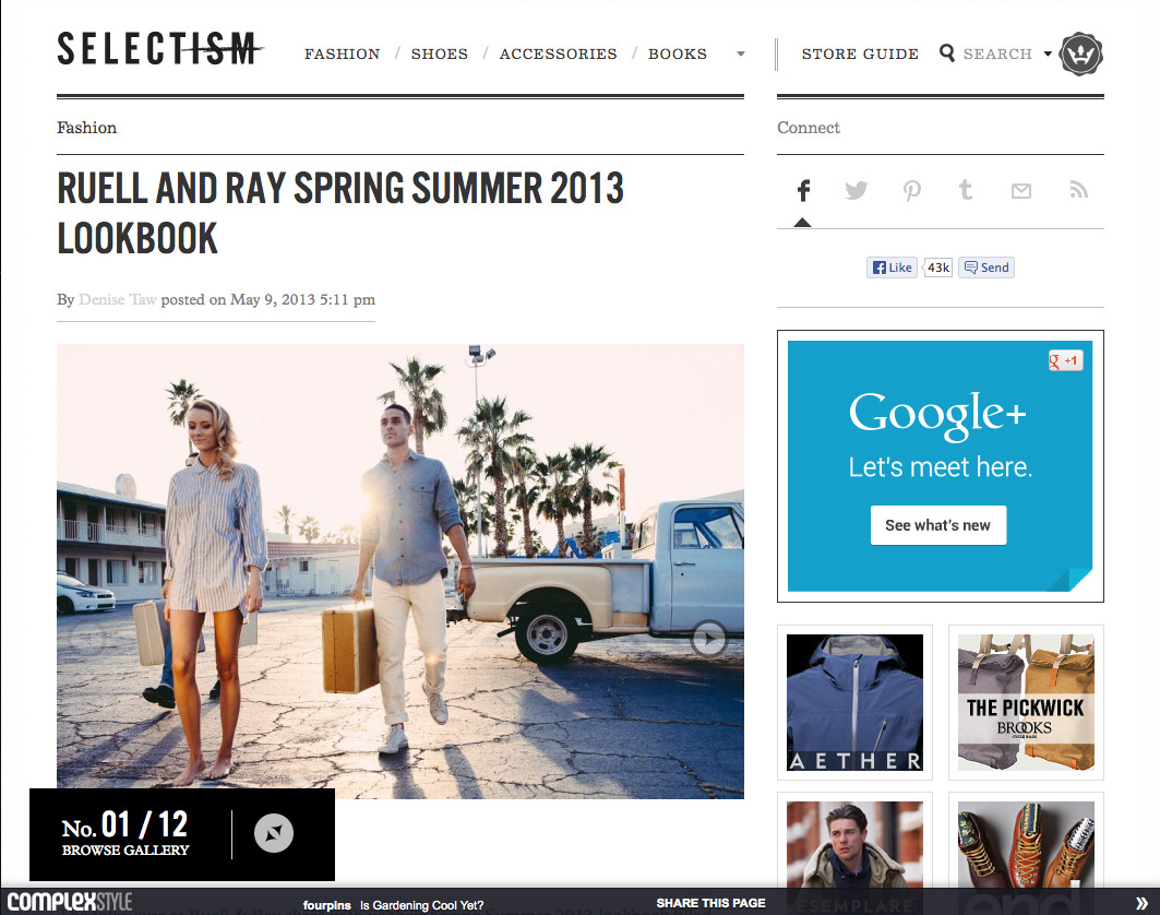 The lookbook we shot for Ruell & Ray is up on Selectism.com. Go check it out!