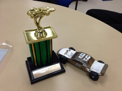 Marius won an award on his first ever PineWood Derby race for Cub Scouts! with Lynn – View on Path.