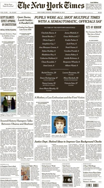 Sunday's New York Times front page does something the paper of record has rarely, if ever, done before: It leads with a black box rather than an image, with zero photos taking up the top half of the page. It also downplays the suspect significantly. (ht @thomaskaplan)