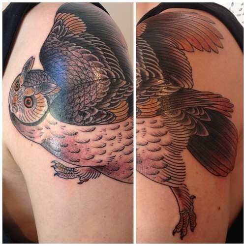 Owl Tattoo by Victor at Two Hands Tattoo, Auckland http://victortattoo.tumblr.com/