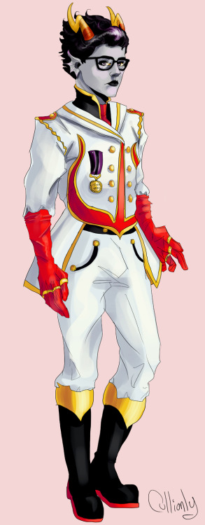 messing with some concepts for Alternian Navy Uniforms I like bright red being the colour of Alternia and the symbol being a culling fork, so there you go Also it gives me an excuse to draw militeridan