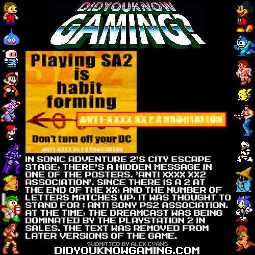 Sonic Adventure 2.  http://info.sonicretro.org/City_Escape#Trivia