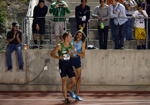 nicerunningday:  Symmonds and Leer right after winning their 1500 heats.