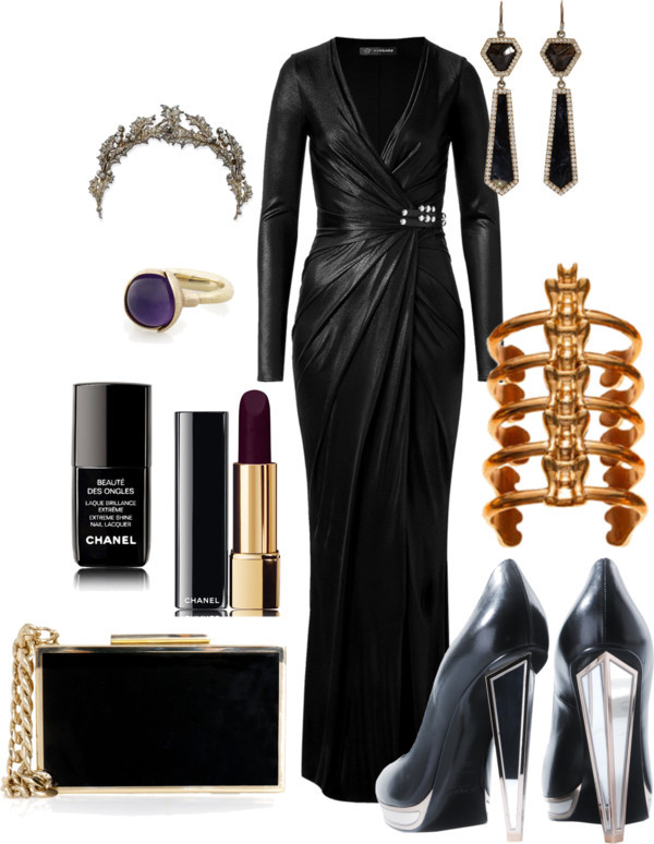 things i'd wear to my first annual villains ball by hausofrickyvevo featuring chanel nailpolishVersace black evening dress / Yves Saint Laurent mirror shoes, $1,065 / Lanvin  handbag / Monique Péan pave jewelry / Ole Lynggaard amethyst jewelry, $3,775 / Jennifer Fisher cuff jewelry / Chanel  / Chanel  nailpolish, $29