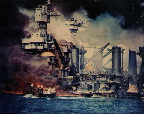 pbsthisdayinhistory:  December 7, 1941: Pearl Harbor Attacked On this day in 1941, a surprise aerial strike was conducted by the Imperial Japanese navy against the United States naval base at Pearl Harbor, Hawaii. Japan's goal for the attack was to use it as a preventive measure to keep the U.S. Pacific Fleet from interfering with its planned military actions across the world. The surprise attack not only struck a serious blow against the U.S. Pacific fleet, but also served as the critical factor for the United States joining World War II. George Macartney Hunter was a naval officer assigned to the USS West Virginia stationed at Pearl Harbor. Read his journal notes from that day. Photo: A small boat rescues a seaman from the 31,800 ton USS West Virginia burning in the foreground (Library of Congress).