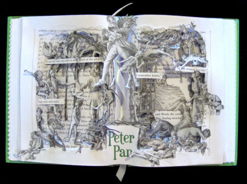 Peter Pan - My lastest Book Sculpture.  I have 6 more books in the process. I am trying to get my inventory up for the upcoming Art Show at the Mabee Gerrer Museum and the Off The Wall Benefit.  https://www.etsy.com/listing/122145505 http://www.mgmoa.org/
