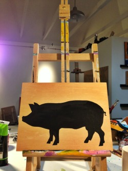 Pig, by request. One of the best animal silhouettes so far. Didn't realize how funny their shape is.