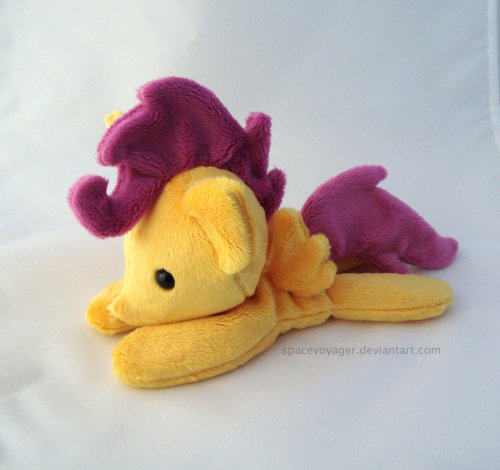 Scootaloo beanie! Made out of minky fabric. She's one of the many beanies I'll have for sale at Trotcon.