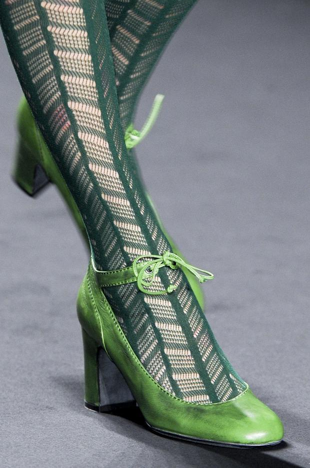 Dark green lace tights and mint green heels by Anna Sui - AW2013