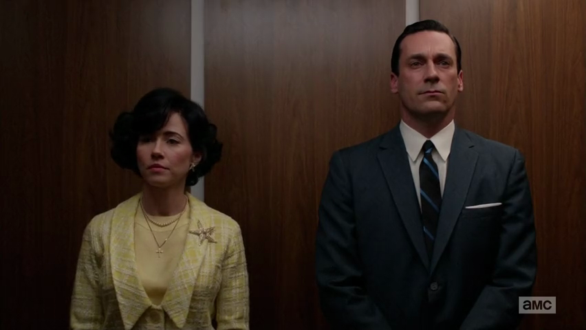Is Don Draper an existential hero or a sex addict with a bullying complex? It's hard to tell because even though he goes through major events, he doesn't seem to change. The 60s are deepening as a crazy, unhinged decade and not only does he not want to be a part of it, he doesn't even bother to rebel. Instead he remains a handsome man who always grows bored with his gorgeous wives and takes lovers. I have no idea what he sees in Sylvia besides a very attractive woman who looks great in vintage lingerie. She's clearly not the most mature person he's ever slept with. That would be Faye, the psychological researcher he saw after he left Betty. I also think Rachel, the Jewish owner of the department store from Season One, makes the list. She definitely would not have put up with his moody, staring over a glass of scotch moments.  In The Crash, Don takes some deadline speed and vitamins from a Dr Feelgood and it launches a raft of flashbacks to his childhood that is, um rich with incident and foreshadowing. Last episode, Don was still pitching The Great Depression while his colleagues are keeping up to date with Gilligan's Island and the space race. (Hey, where ARE the astronauts?). In this episode, he hunts for an ad that shows a mother serving warm oatmeal to her son. Is this what he wants from Sylvia, who is the first mother he has had an affair with? Even dinosaurs need their mommies.