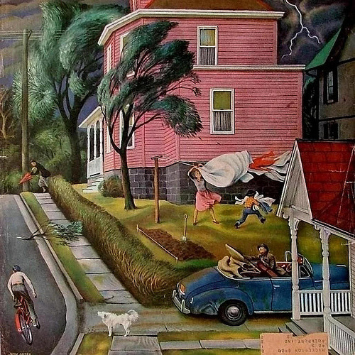 fuckyeahvintage-retro:  Spring Storm Blowing In, 1952 - Illustrated by John Falter.
