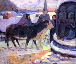 bofransson:  Christmas Eve - Paul Gauguin  i love the colors and the cows' faces