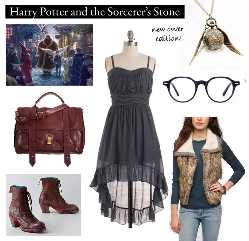 Outfit inspired by Scholastic's new covers for Harry Potter and the Sorcerer's Stone.  Warby Parker Glasses | $95 at Warby Parker Waves Ashore Dress | $57.99 at ModCloth Steampunk Snitch Necklace | $25 on Etsy Handpainted Boots | $300 at Anthropologie PS1 Burgundy Messenger Bag | $1,995 at Barneys Chandi & Lia Faux Fur Sweater Vest | $99 at Urban Outfitters