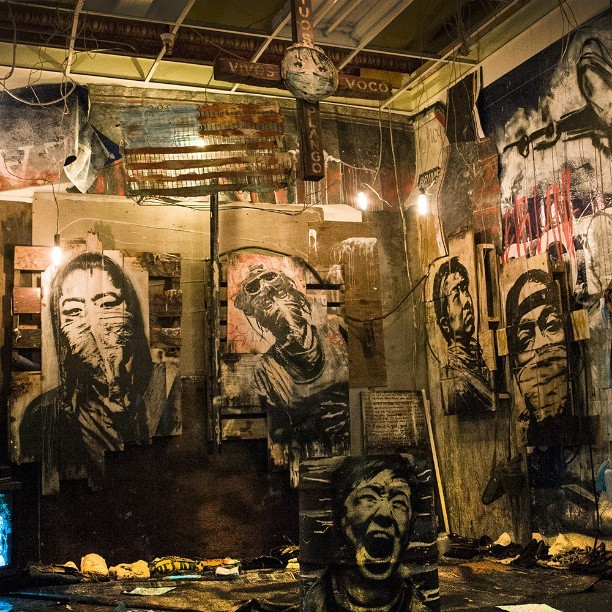 my installation at asylum in Oakland last Friday.  #eddiecolla #oakland #asylum #loakal #chopsticksuas @loakal @chopsticksuas