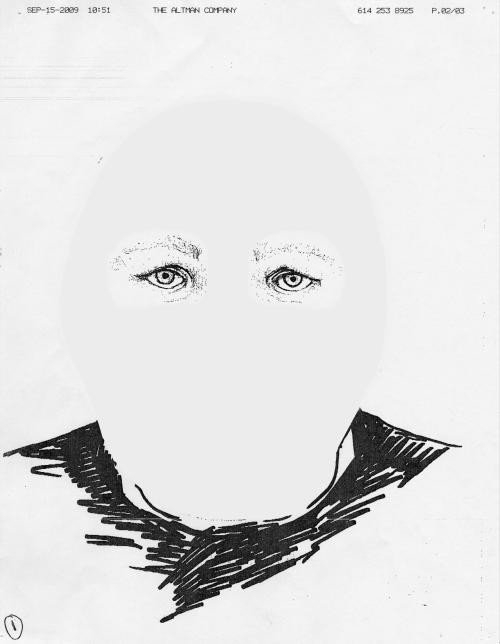 Police Artist Sketch of Man who Robbed Bank Wearing a White Ski Mask, 2013 Fax to local businesses to raise awareness ´´´