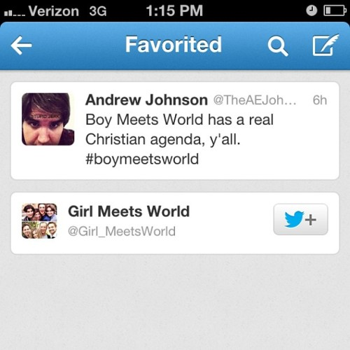 "This is a weird tweet for the official ""Girl Meets World"" account to favorite."