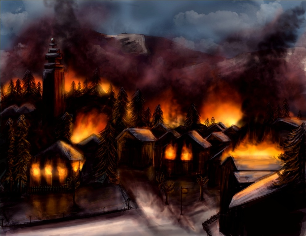 Finally got the last one done! Mountain Town Burning Concept Art source and more of my concept art