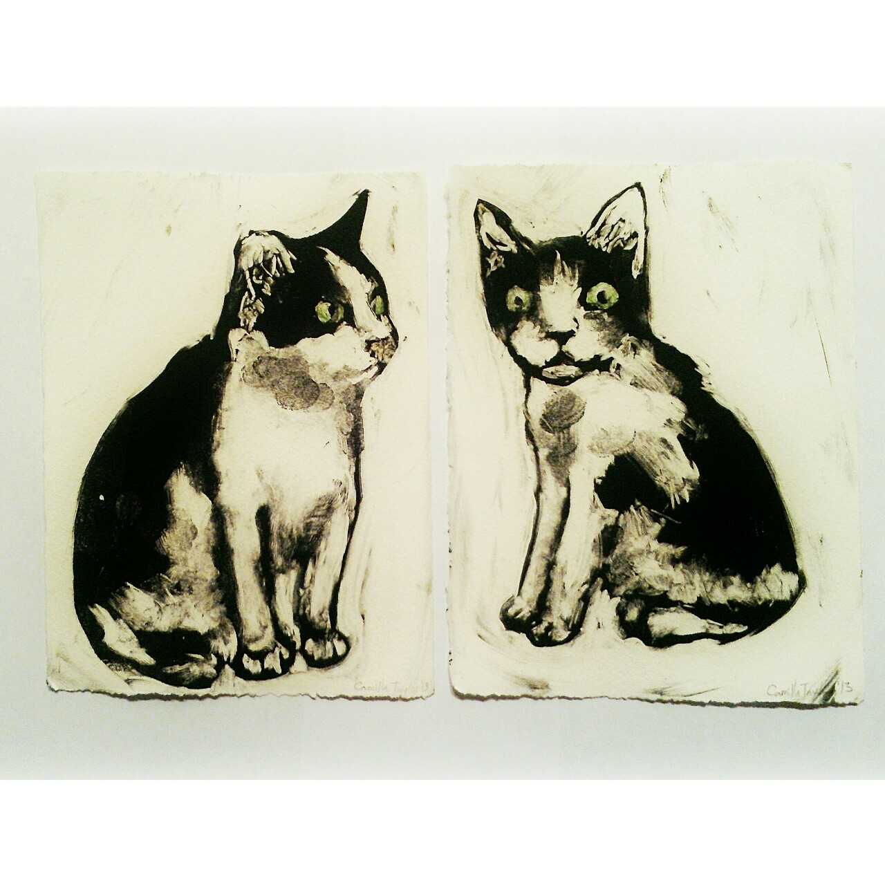 Monoprints of my neighbor's cats, Yuki and Angel, made using the reductive technique as part of a teaching demo.