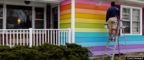 "Westboro Equality House: Aaron Jackson Paints Rainbow Home Across From Anti-Gay Church Aaron Jackson, one of the founders of Planting Peace, bought a house that sits directly across from the church's compound six months ago. On Tuesday, March 19, he and a team of volunteers are painting it to match the gay pride flag. The project — which the nonprofit is calling the ""Equality House"" — is the first in a new campaign Planting Peace plans to wage against the group. Westboro is known for its intimidating tactics of protesting (or threatening to protest) what they refer to as America's pro-gay, anti-God agenda, in close proximity to pride parades, soldier funerals and other events like the Sandy Hook memorial services. Fight hate with love."