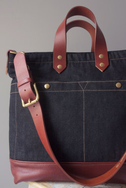 ALL-DAY BAG  ( DENIM 12Oz & LEATHER SERIES) HANDCRAFTED IN PARIS  http://www.les-petites-series.com contact@lespetitesseries.com