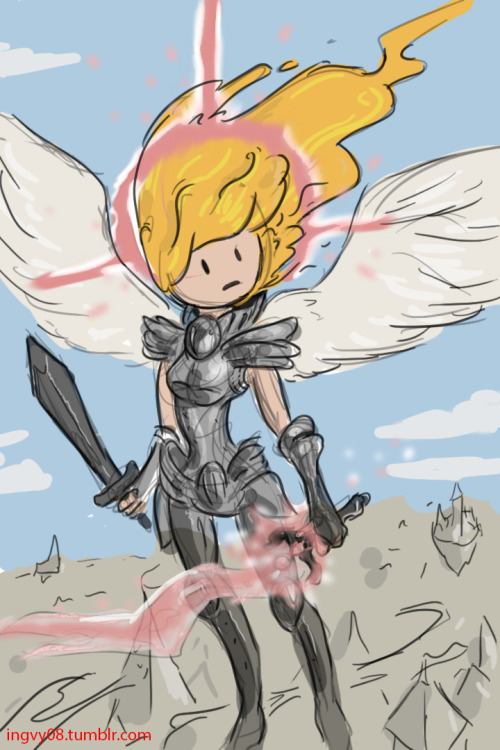 ingvy08:  some quick doodly of my current favorite magic card angel of serenity. did it AT-ish why? because then I can use it in a tag.
