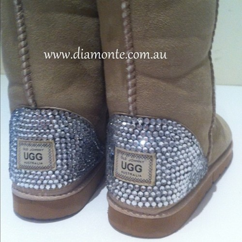 Beige UGG Boots Featuring Swarovski Crystal, visit us on facebook.com/Mydiamonte and diamonte.com.au