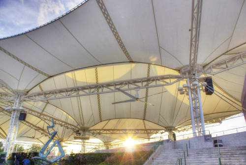 Spring music is in the air. Huge amphitheater that has a PTFE fabric membrane roof.