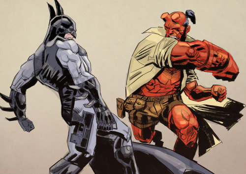 "Greatest detectives by pappaDiPuppi ""Batman versus Hellboy. Simple situation, but who would win this?"""