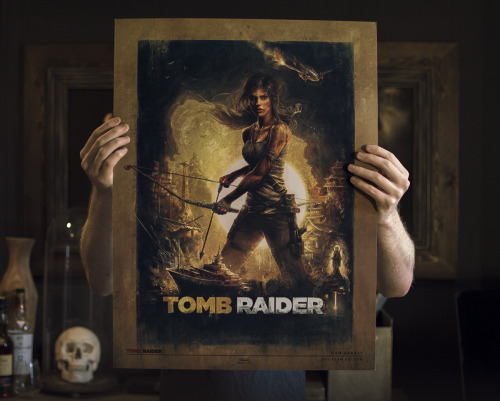 "SAM SPRATT'S SIGNED TOMB RAIDER DEV EDITION PRINT GIVEAWAY! In short: Likes and Reblogs of this image are each entries to win it. Giveaway ends in 1 week. Ships worldwide. You can also enter on Facebook. In slightly less short: I have a couple 18""x24"" prints of the poster I made commissioned by Crystal Dynamics and I'd like to give one away. Only myself and the developers of the game itself have this gold foiled ""Dev Team Edition"" but if you're not a gambling person, the normal limited edition is on sale HEREI might even have a few left over prints of some other works for runner-ups as well…"