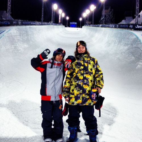 Louie and Greg are ready for halfpipe! X Games time!!!