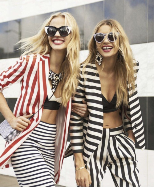 labellefabuleuse:  Jessica Hart and Anne Vyalitsyna photographed by Tommy Ton for Harper's Bazaar, March 2013