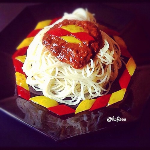 "@hofi666  ""Spaghetti with bell-peppersauce"""